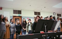 The school choir practices for this year's spring concert, which will be Wednesday May 15.