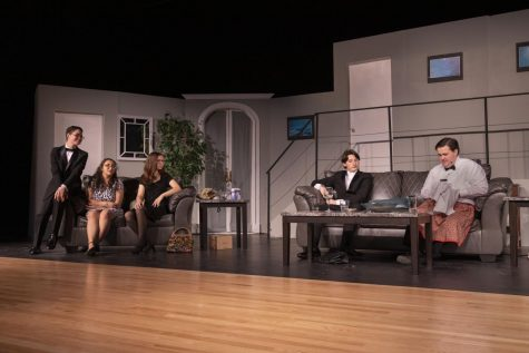 (From left to right) Julio Sanchez, Gina Misurale, Coogan Cardella, Austin Greenwood, and Austin Werner mid-performance