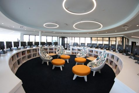 The new library media center has views of the Long Island Sound.