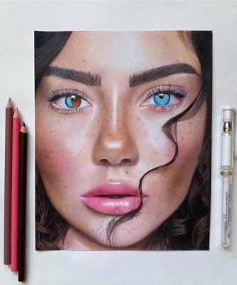 Girl With Colorful Eyes Drawing