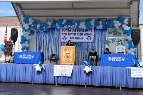 For commencement last year, a stage was built in the school parking lot and graduates arrived in waves of 30.